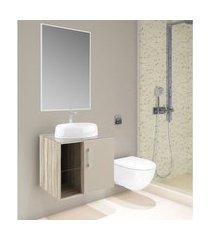 conjunto banheiro suspenso barrique e nude lilies móveis