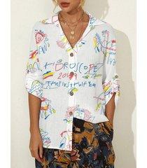 camicetta casual da donna con risvolto con bottoni a maniche lunghe con stampa graffiti