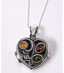 smithsonian sterling silver amber heart locket with chain