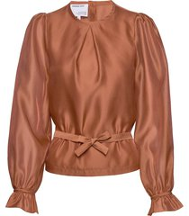 sheer blouse with back buttons and puffed sleeves blus långärmad orange designers, remix