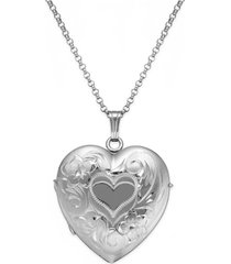 embossed four-picture heart locket in sterling silver