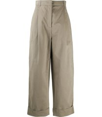 acne studios cropped straight-leg trousers - aa7-stone grey