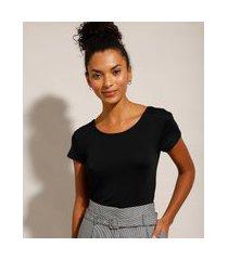 blusa básica manga curta decote redondo preta