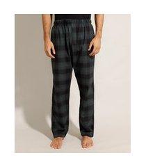 calça pijama de flanela estampada xadrez verde
