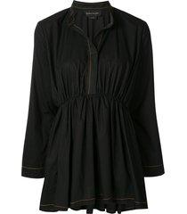 karen walker granite smocked shirt - black