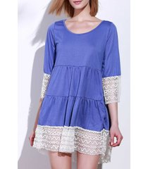 casual 3/4 sleeve u-neck loose-fitting lace splicing women's dress