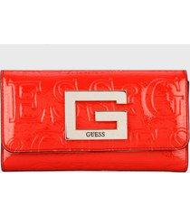 billetera rojo-plateado guess
