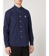 kenzo men's tiger crest casual fit shirt - midnight blue - xl