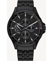 tommy hilfiger men's blue ion-plated multifunction watch black -