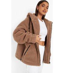 oversized teddy jas met contrasterend detail, camel