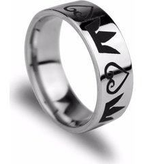 anillo de corona de acero inoxidable men kingdom corazón