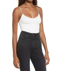 women's bdg urban outfitters bungee strap sleeveless bodysuit, size medium - white