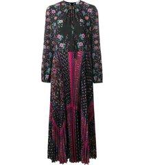 geplooide bloemen-afdrukken chiffon jurk