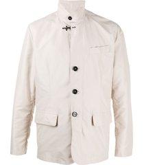fay high collar jacket - neutrals