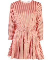 derek lam 10 crosby long sleeve striped godet skirt dress - red
