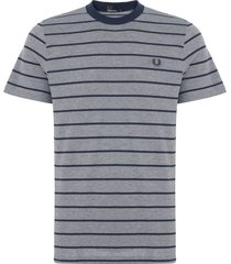fred perry dark carbon striped oxford t-shirt m3569
