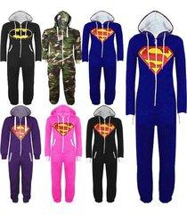 mens womens unisex batman superman hooded zip jumpsuit