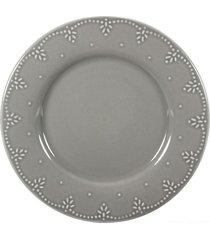 conjunto de pratos sobremesa pearls cerâmica 6 peças cinza casa alegre