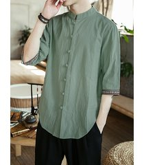 men vintage chinese style cotton linen button up mock neck shirt
