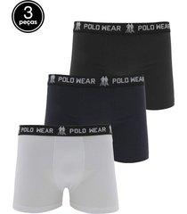kit 3pçs cueca polo wear boxer logo branca/preta/azul-marinho