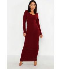 geribbelde maxi jurk met diepe hals en lange mouwen, wijn
