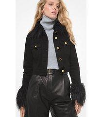 mk giacca in denim corta con bordi in pelliccia sintetica - nero (nero) - michael kors