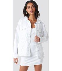 hoss x na-kd oversized denim jacket - white