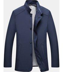 giacca da uomo con colletto alla coreana tinta unita casual moda autunno