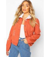 borg collar jean jacket, rust