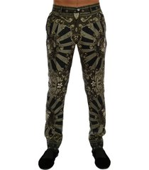carretto print silk dress pants