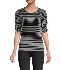 frame women's gathered sleeve crewneck top - black multi - size s