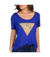 camiseta guess logo oncinha feminina