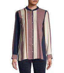 mandarin collar silk shirt