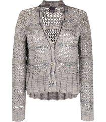 lorena antoniazzi open knit embellished cardigan - grey