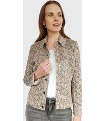 chaqueta ash animal print beige - calce ajustado
