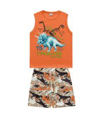 conjunto infantil menino dinosaurs laranja - fakini forfun