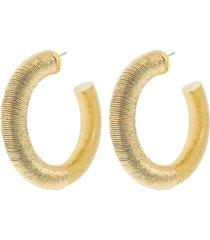 thread embellished hoop earrings