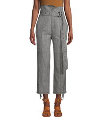 isadora houndstooth linen & cotton pants