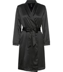 robe long satin flannel fleece morgonrock svart hunkemöller
