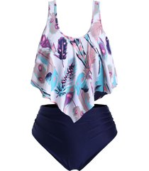 feather print flounces ruched strappy plus size tankini swimsuit