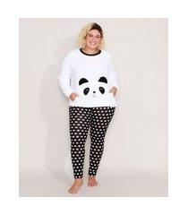 pijama manga longa plus size panda com fleece e poá branco
