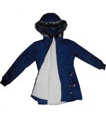 chaqueton parka térmica ovejera con capucha peluchín - femenino