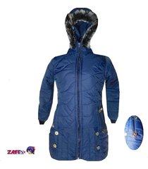 chaquetón termico azul oscuro con capucha peluche - fashion