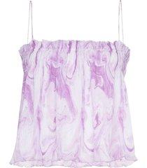 ganni swirl-print pleated top - pink
