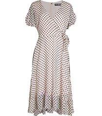 polka dot chiffon flare dress