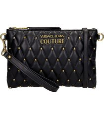versace jeans couture shoulder bag in black leather