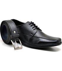kit sapato sandro & co. derby tradicionally + cinto masculino - masculino