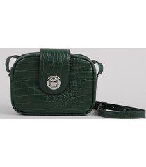 bolsa feminina transversal pequena croco verde escuro