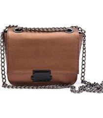 bolsa transversal maria milã£o feminina mini bag cobre metalizada - bronze/cafã©/caramelo/cobre/marrom - feminino - dafiti