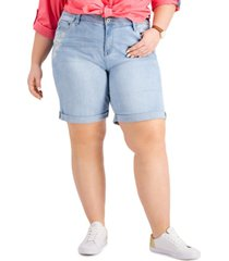 tommy hilfiger plus size cuffed embroidered denim shorts